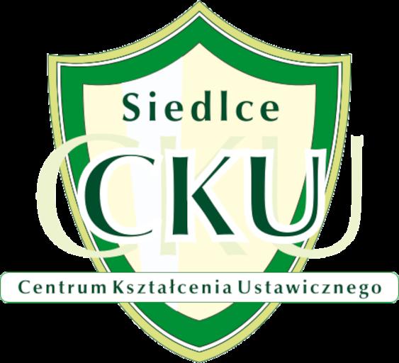 logotyp Centrum Kształcenia Ustawicznego w Siedlcach, zielono-żółta tarcza