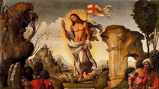 Fragment obrazu: Zmartwychwstanie Chrystusa Rafaellina del Garbo. Na zdjęciu Chrystus